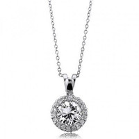 Sterling Silver CZ Solitaire Pendant Necklace