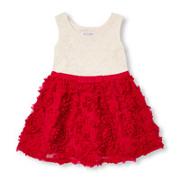 Toddler Girls Sleeveless Lace And Rosette Flare Dress | The Children's Place