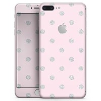 Pink and Silver Glitter Polkadots - Skin-kit for the iPhone 8 or 8 Plus