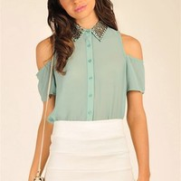 Carly Bead Top - Mint at Necessary Clothing