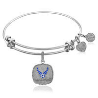 Expandable Bangle in White Tone Brass with Enamel U.S. Air Force Symbol