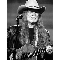 """Willie Nelson poster Metal Sign Wall Art 8in x 12in 12""""x16"""" Black and White"""