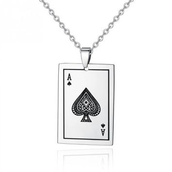 Ace Playing Card Stainless Steel Pendant Necklace