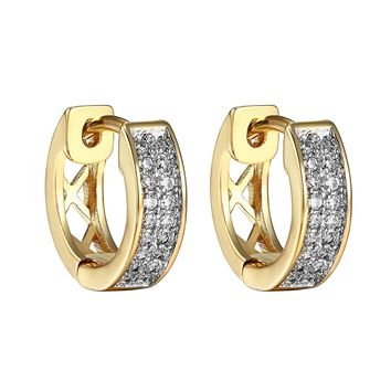 Hoop Huggie Earrings 14k Gold Finish Clip On Simulated Diamonds Mens Womens Pave