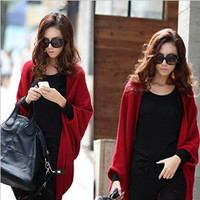 Winter Outerwear Poncho Sweater Shawl Cape Cashmere Blends Knitted Cardigan red black grey one size = 1919945668