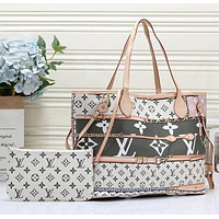 LV new women's tide brand large-capacity shopping bag handbags mother bag two-piece White+Green