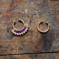 Tribal Purple Faux Septum Piercing , Gold Clip On Septum Ring