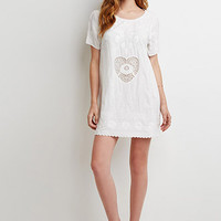 Heart-Embroidered Shift Dress