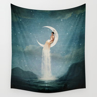 Moon River Lady Wall Tapestry by Paula Belle Flores