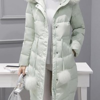 Casual Fur Collar Hooded Pocket Down Coat For Women