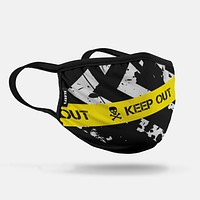 Keep Out Black Yellow Face Mask With Filter Pocket