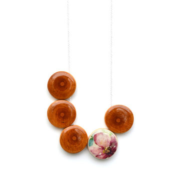 Floral and wood statement necklace Bohemian jewelry wood necklace 5th anniversary gift bubble necklace statement jewelry starlightwoods