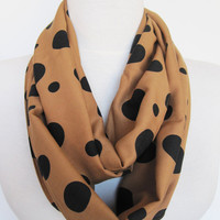 Infinity Cotton Polka Dot Scarf, Circle Scarf, Mother Day Gift, Peru Brown and Black