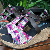 Womens Sandals In Laos Embroidery, Faux Leather Straps, Wedge Heel, 2 Patterns - Leighanna