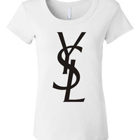 YSL Women's White Fitted Tee - S-M-L-XL