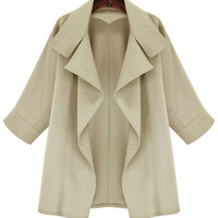 Non Button Notched Collar Casual Trench Coat