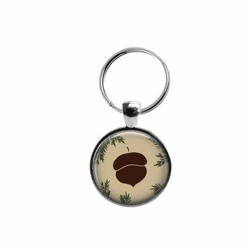 Acorn pendant key ring, choice of silver or bronze