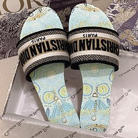 Christian Dior Classic Embroidered Letter Pattern Ladies Personalized Sandals Beach Slippers Shoes #2