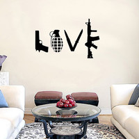 Weapons handgun grenade knife rifle L O V E Vinyl Wall Decal Sticker Art