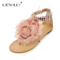 Women' Sandals - Delicate Flower Sandals With Buckle Closure