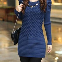 Blue Long Sleeve Mini Dress