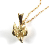Pigeon or Dove Charm Necklace in Brass