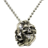 Laughing Skulls Sterling Silver Necklace