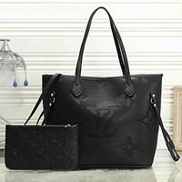 Women Fashion Leather Handbag Tote Satchel Set Two Piece