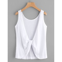 Twist Knot Back Tank Top WHITE