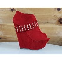 Mona Mia Alexa Red High Heel Platform Wedge Studded Band Ankle Boot Shoes 5 -10