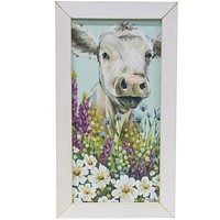 "Field Day Cow White Framed Print 9"" x 18"""