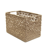 Mode Crochet 12X7X8 Wire Basket, Tan