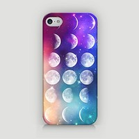 Hipster Moon Phases - Galaxy Moon Phases - Moon Phases - Lunar Phases - Hard Plastic Case for iPhone 5/5S - ALL SIDES PRINTED - YouniQ Art's Registered Design