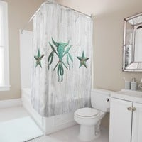 Western Steer Skull & Barnstars Shower Curtain