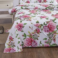 DaDa Bedding Romantic Roses Lovely Spring Pink Floral Garden Flat Bed Sheet Only - 1 Piece (JHW879-Flat)