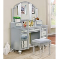 Contemporary 2-piece Mirrored Multi-drawer Vanity Table Set