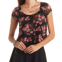 Floral Print Lace Swing Crop Top by Charlotte Russe - Black Combo