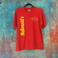 90s McDonald's T-Shirt Vintage Fast Food Distressed Worn Graphic Tee Grunge Stoner Burnout Shirts Mickey D's Deluxe Hamburger Golden Arches
