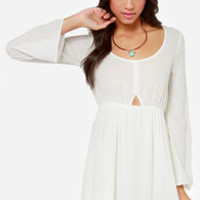 In the Know Cutout Ivory Dress