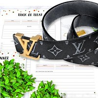 LV LOUIS VUITTONMEN GENUINE LEATHER BELT BELTS Black LV print