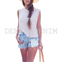 Women's Tattered Ripped Distressed Denim Fray Shorts
