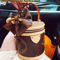 Bunchsun LV Louis Vuitton Women Fashion Leather Bucket Bag Handbag Crossbody Satchel Shoulder Bag Cosmetic Bag(This Product Does Not Contain A Scarf)