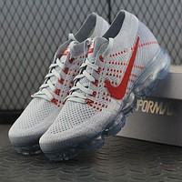 Tagre™ ONETOW Best Online Sale Nike Air VaporMax Vapor Max 2018 Flyknit Men White Red Sport Running Shoes 849558-006