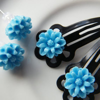Girls Earrings And Hair Clip Combo, Girls Snap Clips, Girls Flower Snap Clip, Girls Hair accessory