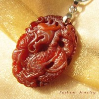 Kiss of the Dragon ,Auspicious Dragon and Phoenix Carved Multicolour Jade Necklace- Fortune Feng Shui Chinese Zodiac Jewelry