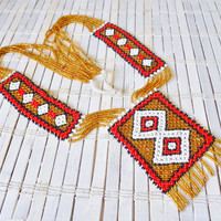 Vintage Native American Beadwork Statement Necklace Long Fringed Red Gold White Loomwork Indian Beading