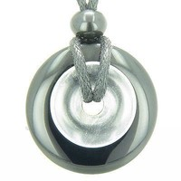 Astrological Leo Amulet Double Lucky Donuts Black Onyx and Rock Crystal Quartz G