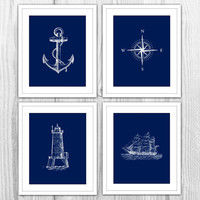 Navy Nautical Set of 4 Art Prints - Navy Blue & White Anchor, Compass, Lighthouse, Sail Boat Ship - Modern Beach House Bathroom Decor