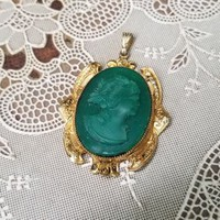 Antique Green Glass Gold Filled Cameo Pendant Charm