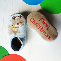 Personalised First Christmas Character Baby Shoes